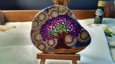 Tree of Life Beach Stone w/ stand ~Hand Painted Dot Art pointillism~ Miranda Pitrone rock painting~