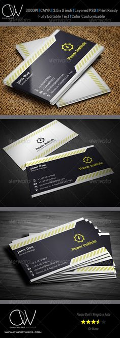 yellow and black corporate business card design - #graphic #design