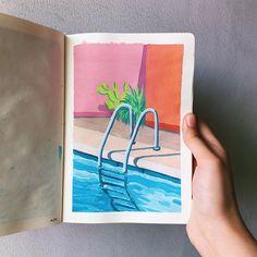 Small Canvas Art, Mini Canvas Art, Watercolor Paintings For Beginners, Watercolor Art, Watercolor Sketchbook, Art Anime, Art Graphique, Marker Art, Acrylic Art