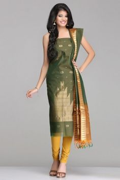 Stylish Green & Brown Kora Silk Unstitched Suit With Gold Zari Circular & Temple Motif