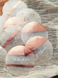 Rose gold capiz shell calligraphy place cards