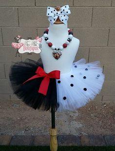 CRUELLA DEVILLE inspired- Black, White, and Red polka dot  baby/child Tutu with hairbow:  Newborn-5T
