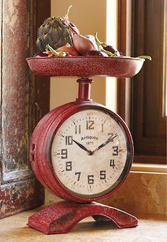 Unique Clock for a rustic kitchen or farmhouse kitchen.