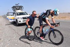 Tom Boonen gets push after a mechanical Photo credit © tdwsport