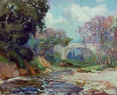 Franz Bischoff (1864-1929) an American impressionist artist - Bridge and Stream