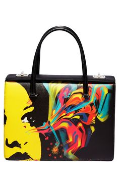 Art school chic, Prada--Saffiano leather bag with El Mac painting design, price on request. Prada Handbags, Fashion Handbags, Purses And Handbags, Fashion Bags, Handbags 2014, Ladies Handbags, Prada Bag 2014, Prada Tote, Sac D'art
