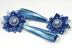 Blue Night Sky Tassel Earrings, Night Sky Collection, One of a Kind, Statement Earrings decorated with Swarovski Crystals