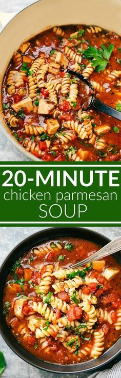 Twenty minutes TOTAL for this delicious, healthy, and easy chicken parmesan soup to be on your table! This is a soup the entire family will go nuts over! via http://chelseasmessyapron.com