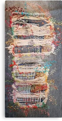 Textile Art 473018767105601794 - Distressed denim jeans, patchwork, boro, stitched, embroidery Source by anaslenoir Sashiko Embroidery, Embroidery Art, Embroidery Stitches, Embroidery Patterns, Embroidery On Jeans, Embroidery Sampler, Knitting Stitches, Fabric Art, Fabric Crafts