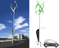 love this...  Elegant urban wind turbines to power electric vehicles