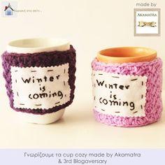Κυριακή στο σπίτι...: Γνωρίζουμε τα cup cozy made by Akamatra & 3rd Blogaversary