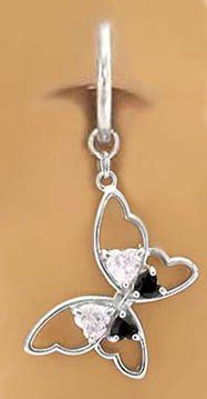 Best Quality Free Gift Box 10k W//dangle Buttrfly//pink Cz Belly Dangle