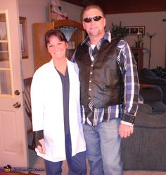 This homemade costume for couples entered our 2012 Halloween Costume Contest. Sister Halloween Costumes, Halloween Costume Contest, Couple Halloween, Movie Couples Costumes, My Husband Birthday, Costume Works, Jax Teller, Sons Of Anarchy, Biker Style