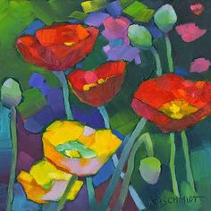 Just Landscape Animal Floral Garden Still Life Paintings by Louisiana Artist Karen Mathison Schmidt: Full House abstract impressionist oil painting of red & yellow poppies • vivid contemporary illustration art of a poppy garden • floral painting by Louisiana artist KMSchmidt