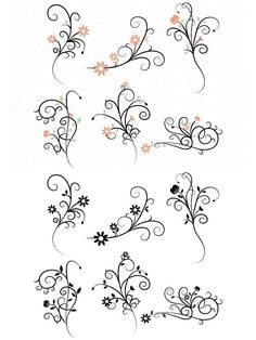 Flower Flourish Swirl Clipart You will receive : - 16 Floral images - about wide at full size - 300 dpi High Resolution PNG File - 2 EPS files with Swirl Tattoo, Wood Burn Designs, Lily Flower Tattoos, Gun Art, Doodle Designs, Pencil Art Drawings, Calligraphy Art, Cool Fonts, Hand Tattoos