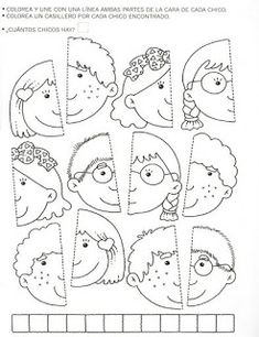 Use this for my younger students in the style of the puzzle piece group project.kinder, blank faces have students draw themselves and color or paint with watercolor? Toddler Activities, Preschool Activities, Art For Kids, Crafts For Kids, Fall Crafts, Folder Games, Kindergarten Worksheets, Kids Education, Kids And Parenting