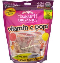 YumEarth, Organic, Vitamin C Pops, Assorted Flavors, 40 Pops, 8.5 oz (245 g) #yumearth