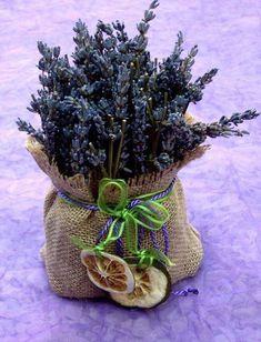 Lavender burlap pouch: