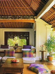 Indoor / Outdoor Living. Beautiful Indonesian Teak panels for door way  teak furniture.