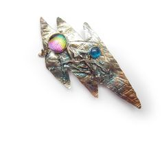 Abstract Lightning Pin Brooch in Sterling Silver and Married Metals  with dichroic and apatite by Cathleen McLain McLainJewelry by mysticafelicity on Etsy