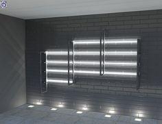 Διακοσμητικά Panel με ανάγλυφα τούβλα σε εμπορικό κατάστημα με ενδεικτική μεταλλική ραφιέρα τοίχου [Σειρά Bricks] Pharmacy, Blinds, Curtains, Home Decor, Decoration Home, Room Decor, Apothecary, Shades Blinds, Blind