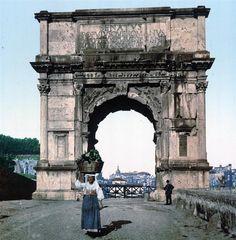 El Triunfal Arco de Titus - Postales De Roma Antigua (1890)