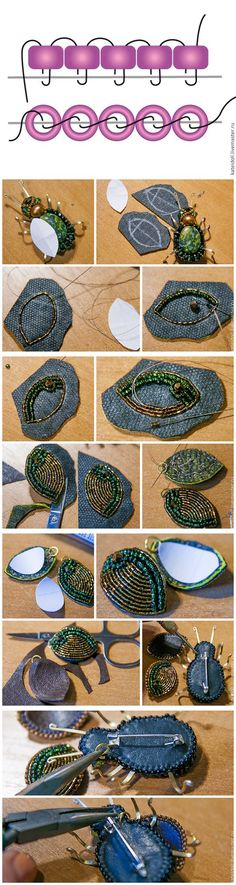 "Beaded brooch ""Bug"" tutorial                                                                                                                                                                                 More"