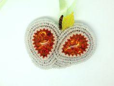 White Apple  Beaded necklace brooch  orange by LaGansaHandiwork