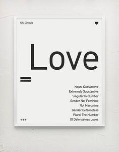 Typography Poster Love Kiki Dimoula Black by MessProject, €17.00