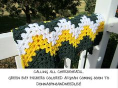 Green Bay Packers Afghan Crochet Ripple Gold Green White. Ok I need to make this for my nephew!