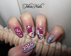 #capodanno #nailart #nailartdesign spumante #clock #happynewyear2014 #happynewyear #naturalnails #naildesign #mynails