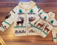 """Mommy (and/or Daddy) & Me style!!  60s adult cowichan sweater - sz. M/L (44"""" chest) - $125 60s children's cowichan sweater-"""" - sz. 10 - $36  Don't forget to send us DM or comment with your email and postal code to get your hands on these goodies!! #MommyAndMe #instababy #cowichan #vintage #60s #baby #elk #styleinspo #instasale #menswear #unisex #sweater"""