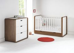 This East Coast Cuba cotbed is mid-century inspired with the rounded corners and the contrasting dark wood with white finishes. The full-length under bed drawer comes complete with the cotbed as a good use for storage of all your bedding and anything else you will need in the nursery. Perfect for that additional blast of colour for any nursery.