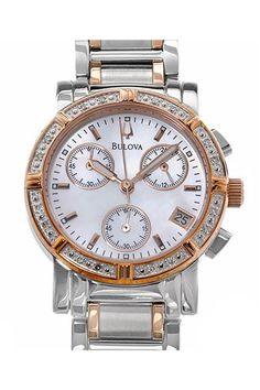 BULOVA Chronograph Japan Quartz Diamond Ladies Watch - Enviius