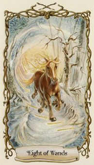 March 6 Tarot Card: Eight of Wands (Fantastical Creatures deck) Your energy is high and things are moving quickly now ~ this can be a time of great advancement and positivity