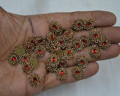 50 Tiny Flower shaped Rhinestone Golden Applique You can purchase from what's Aap no. is We also take wholesale enquiries. Embroidery Patches, Embroidery Applique, Beaded Embroidery, Embroidery Designs, Bullion Embroidery, Zardosi Embroidery, Embroidery Flowers Pattern, Flower Patterns, Embroidery Hoop Nursery