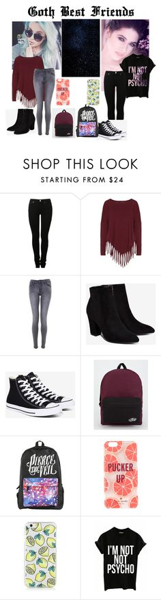 """""""Goth friends"""" by emo-presley ❤ liked on Polyvore featuring MM6 Maison Margiela, Boris, Billini, Converse, Vans and Kate Spade"""