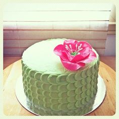 green tea cake with pink fantasy flower