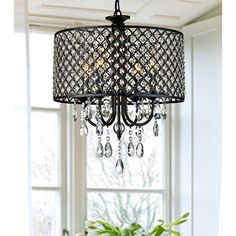 4-light Round Crystal Chandelier Drum pendant ceiling lighting Fixture Lamp #Contemporary