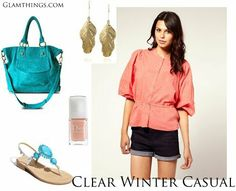 Casual: Don't be bored with blacks ,   combine pink and teal  for high contrast and unexpected color combination.