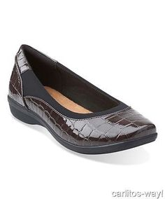 New Clarks Haydn PEARL Slip On Shoes Womens Size 7.5 Wide Brown Crocodile