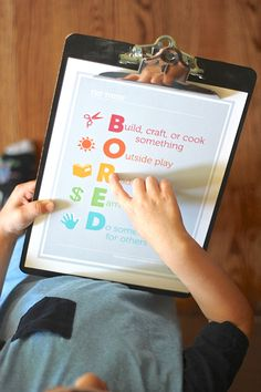 "Free printable - no more, ""Mom, I'm bored!""... This is going up on our wall ASAP!"