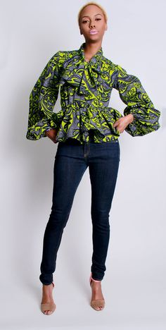 I just love everything about this » The Naomi -African Print 100% Holland Wax Cotton Shirt