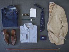 enthusiasmdocumented: unabashedlyprep.com: 1. Levi's 501 jean 2. Ralph Lauren double monk straps 3. Tory leather equestrian belt 4. Randolph Engineering aviators 5. Cotton pocket square 6. Timex Easy Reader watch w/J.Crew nylon strap 7. Ascot Chang bengal stripe shirt (bespoke, $300)