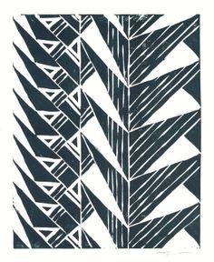 SALE - Print - Geometric Tribal Triangles Linocut / 8 x 10 Wall Art / Black, Turquoise, Red, Navy on Etsy, $25.00