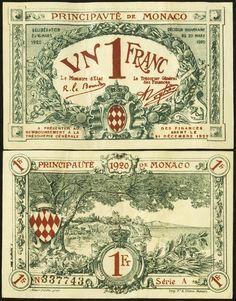 Monaco Principaute de Monaco 1 Franc 20.3.1920 Pick 5. An Extremely Fine example with paper originality.