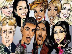 "Paris Hilton, Lisa Wu-Hartwell, Kandi Burruss, Ne-Ne Leake, Kim Zolciak, Donald Trump, *Chance and Real*, Kim Kardashian.....Caricature art for ""Your Weekly Top Ten"""