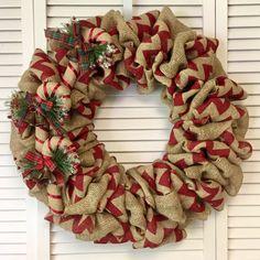 Christmas Wreath, Candy Cane Wreath, Xmas Wreath, Burlap Wreath