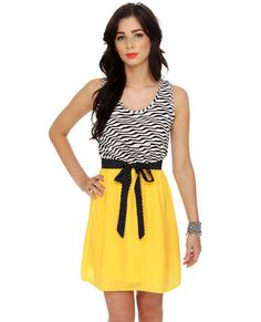 "Okay yellow, black and white always go good together. This is just adorable. I love the ""zebra print"" with the polkadots. I've never been shy of wearing stripes and polkadots. This is just adorable. #LoveLulus!"