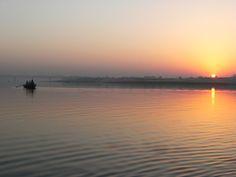 Sunrise on the water in Varanasi